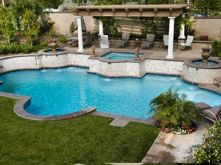 jardin estilo mediterraneo pergola piscina ideas