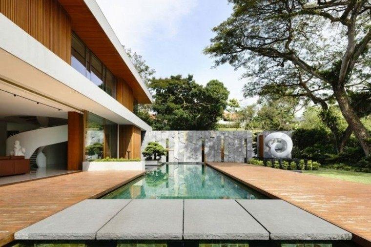 jardin estilo minimalista piscina figura grande decorativa ideas