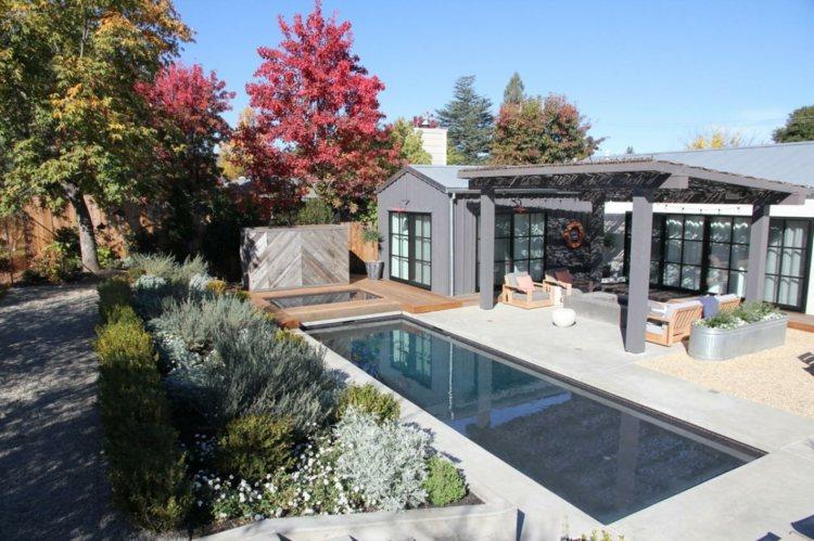 jardin estilo  minimalista piscina pergola ideas