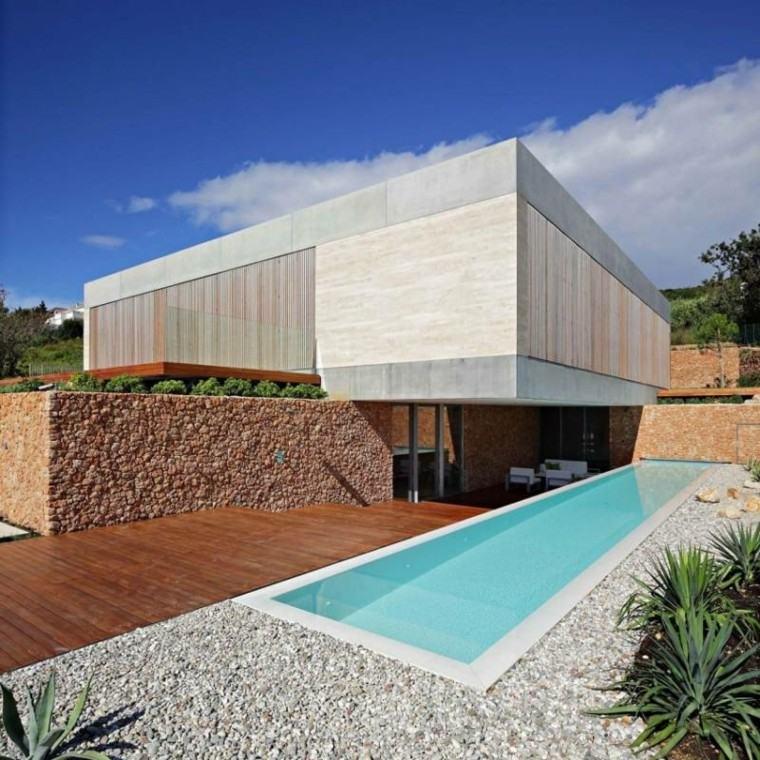 jardin estilo minimalista suelo piedras piscina ideas