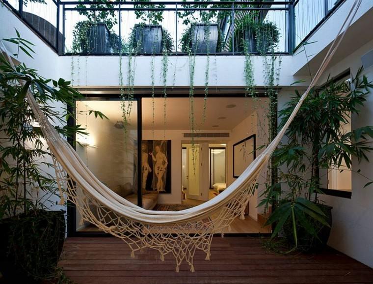 jardin hamaca plantas macetas bonita ideas