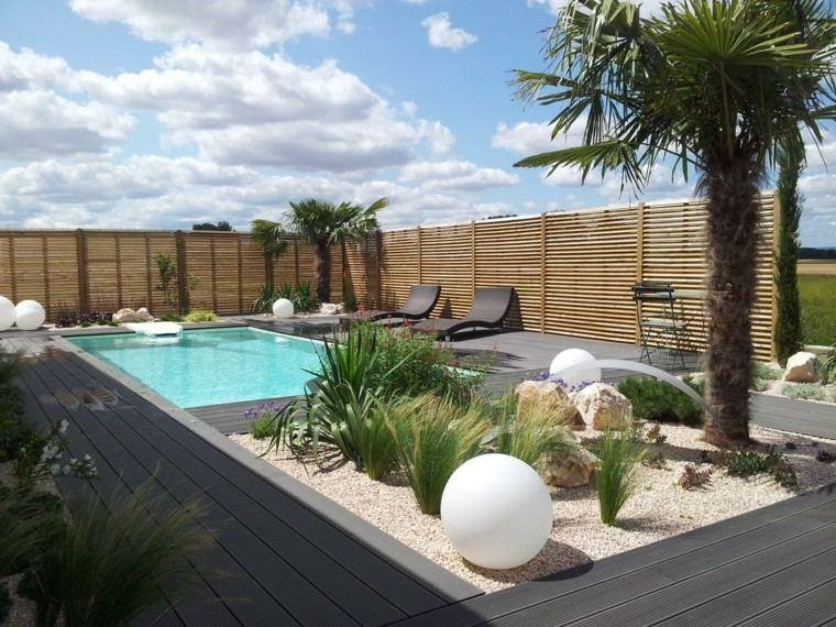 jardin palmera piscina madera ideas