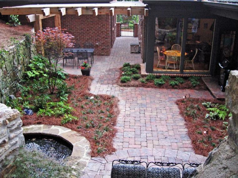 jardin estilo moderno fuente esquina