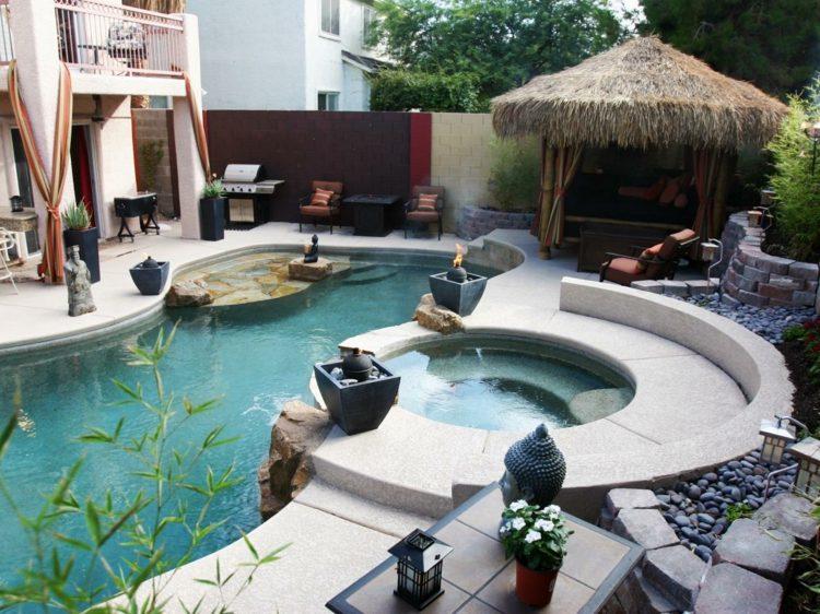 jardin moderno piscina macetas fuego ideas