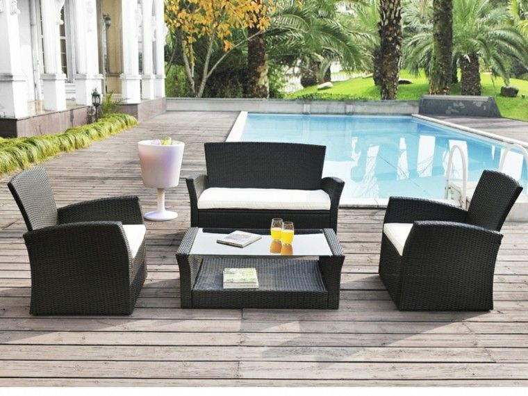 jardin muebles rattan color negro