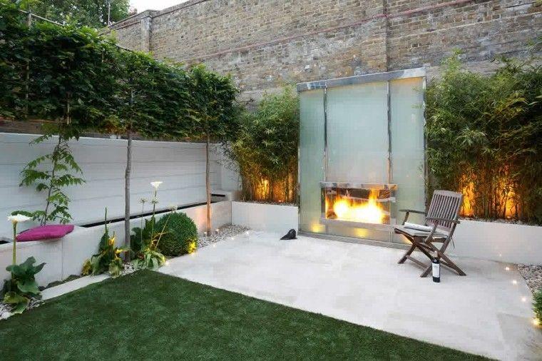 jardin pequeno estilo minimalista silla lugar fuego ideas