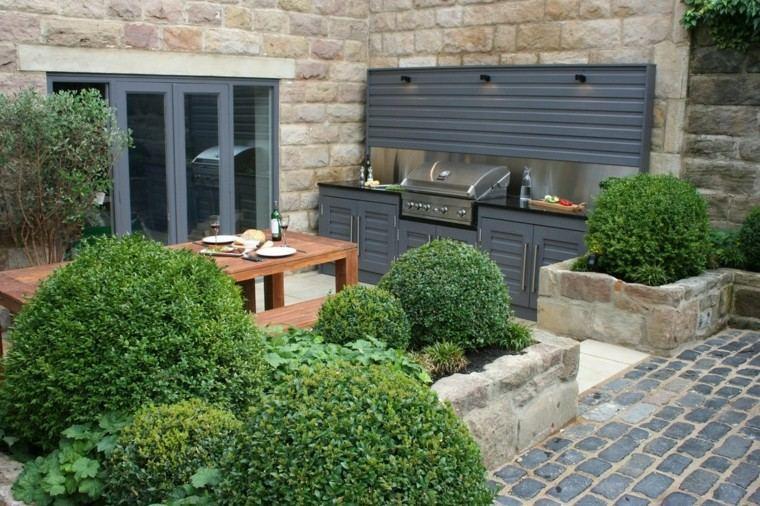 jardin pequeno mesa cocina plantas ideas