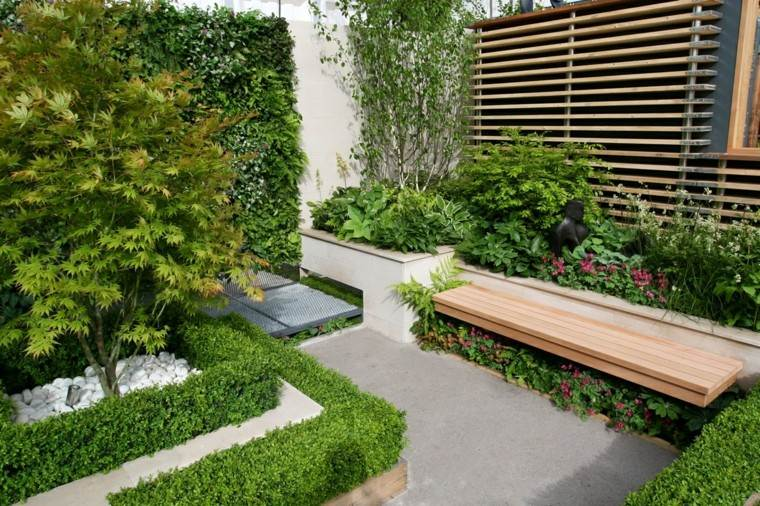 jardin pequeno plantas valla alta ideas