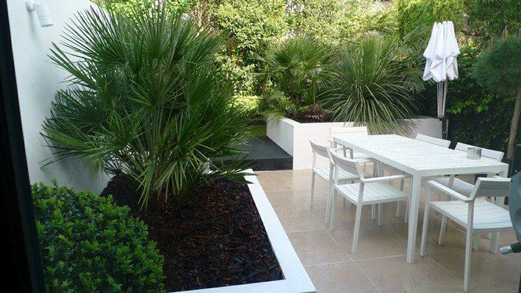 jardin pequeno plantas muebles blancos ideas