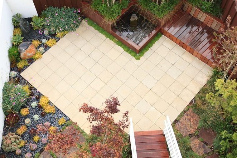 jardin pequeno suelo losas plantas ideas modernas
