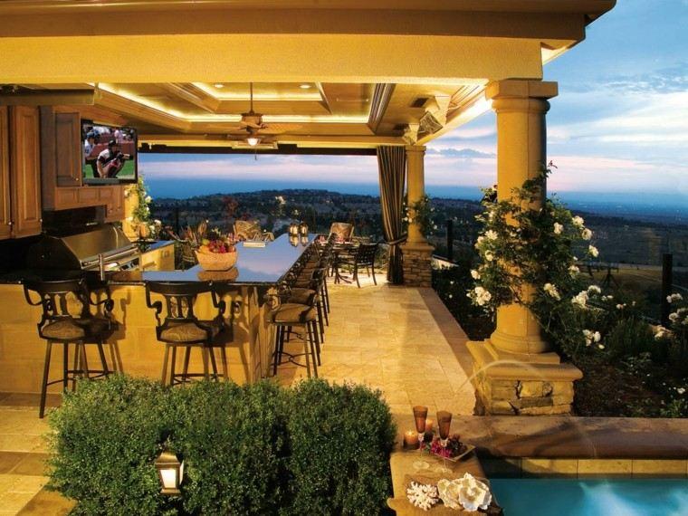 jardin pergola barra sillas altas cocina ideas