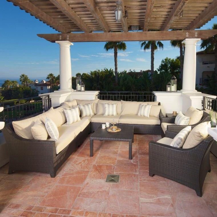 jardin pergola madera sofas color beige ideas