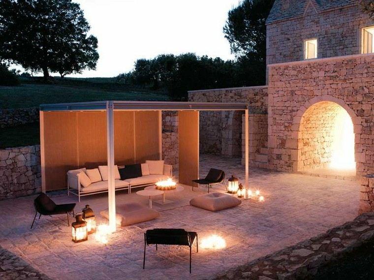 jardin pergola sofa cojines blanco negro ideas