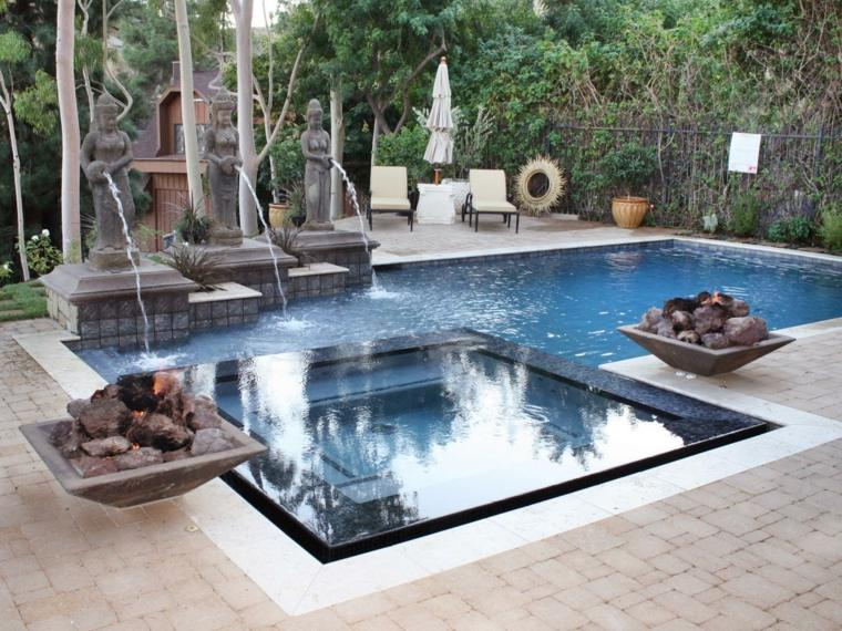 Fuentes de jard n 100 modelos de espect culos acu ticos - Einbau whirlpool outdoor ...