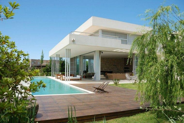 jardin piscina plataforma madera porche