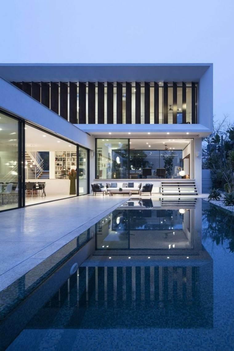 jardin piscina suelo hormigon muebles comodos ideas