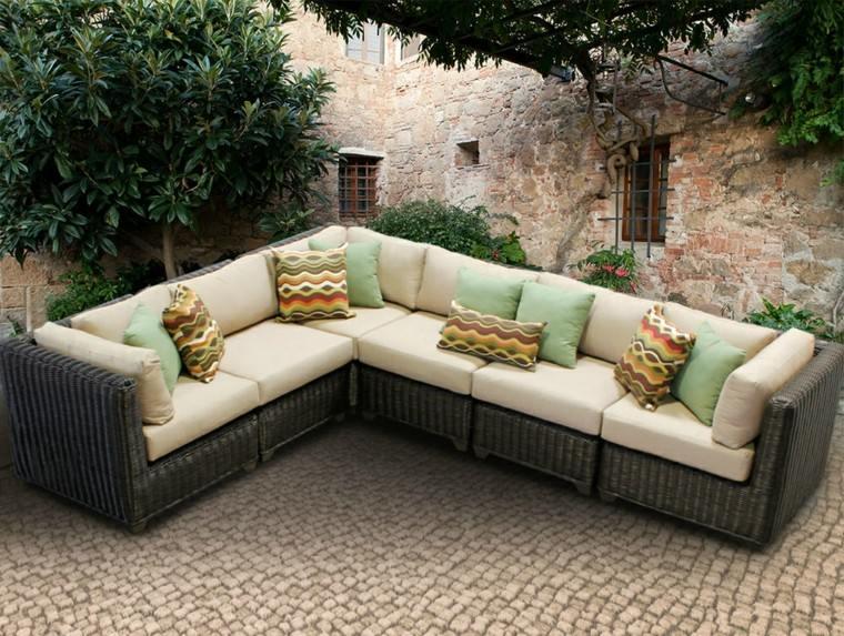 jardin precioso plantas lugar descanso sofas ideas