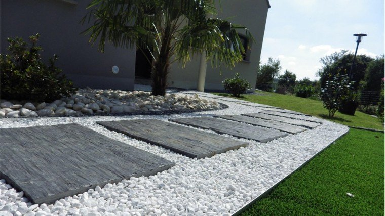 jardin rocas patio decorativo grava blanca
