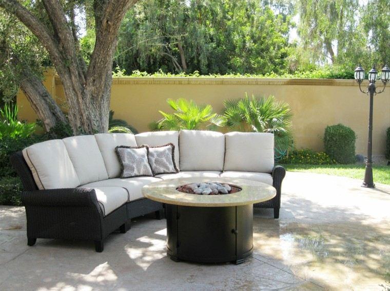 jardin sofa lugar fuego descanso ideas modernas