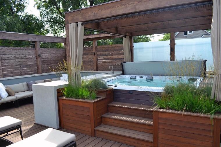 jardin valla pergola madera jacuzzi ideas