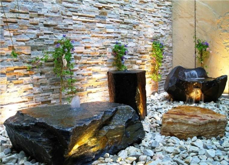 jardin zen fuentes rocas piedras