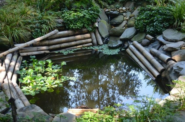 jardines diseño bambu estanque pequeño
