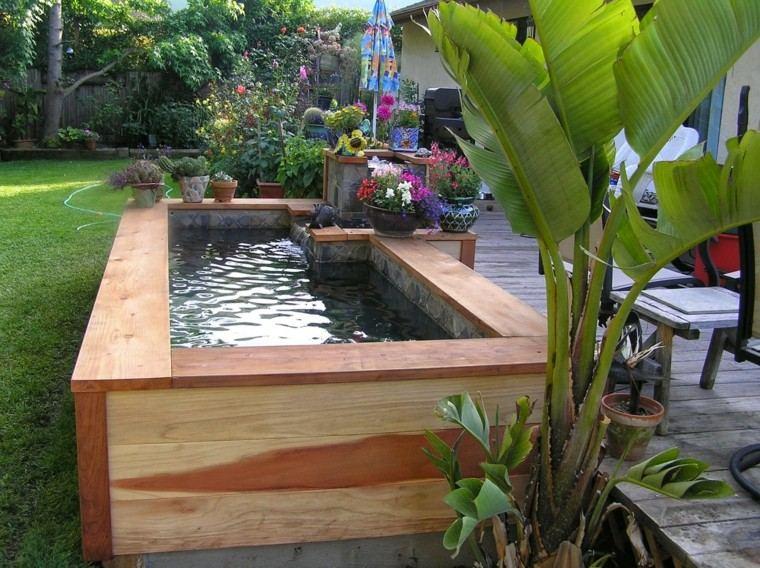 jardines diseño madera flores patio plantas