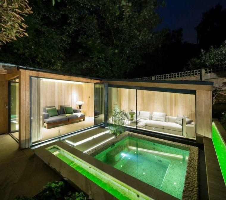 jardines pequenos iluminacion led color verde ideas