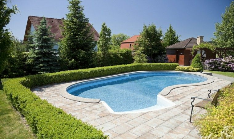 jardines piscinas banco losas precioso ideas