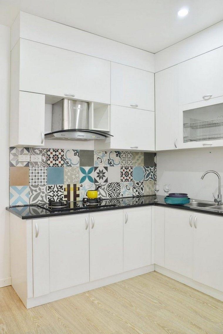 juegos de cocina color blanco azulejos colores ideas