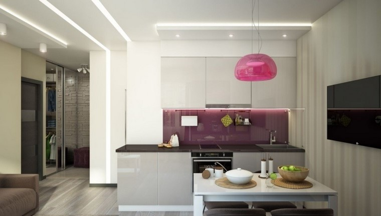 juegos de cocina color purpura brillantes ideas modernas