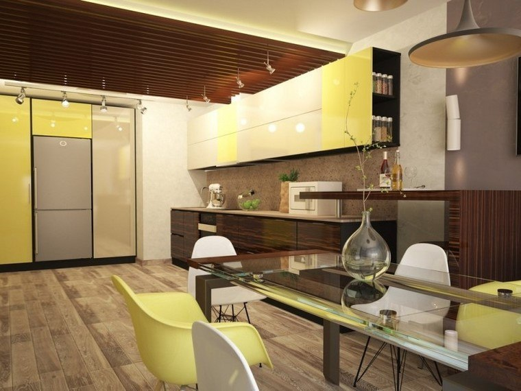 juegos de cocina colores vibrantes amarillo mesa cristal moderna