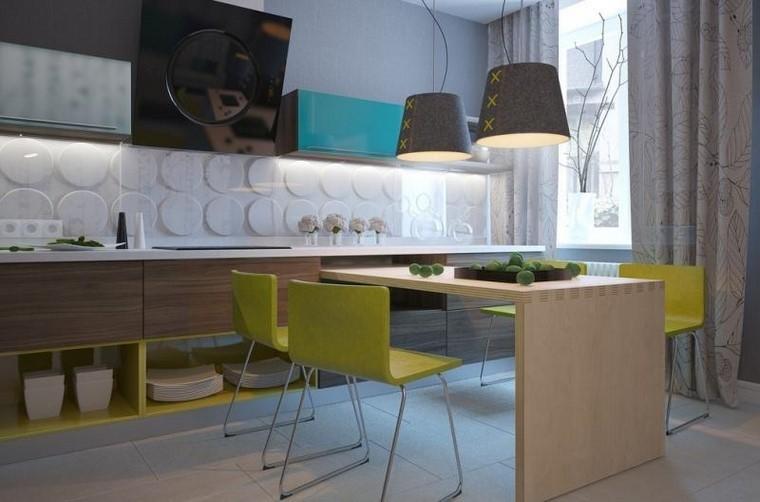 juegos de cocina sillas verdes isla ideas modernas