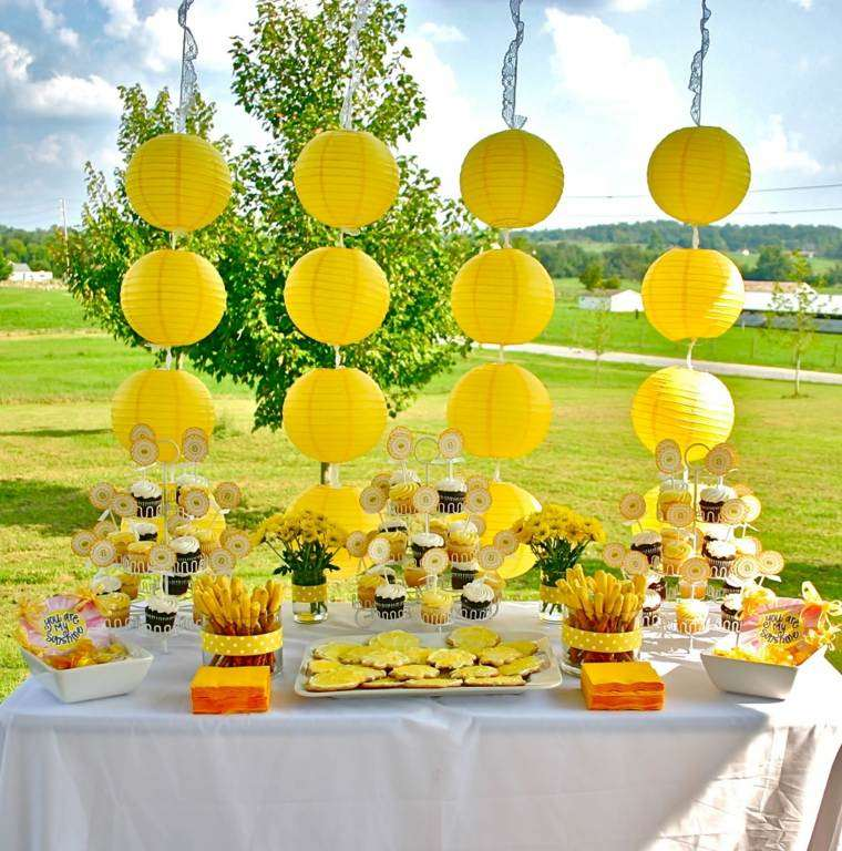 la mesa colorido jardin soleado amarillo