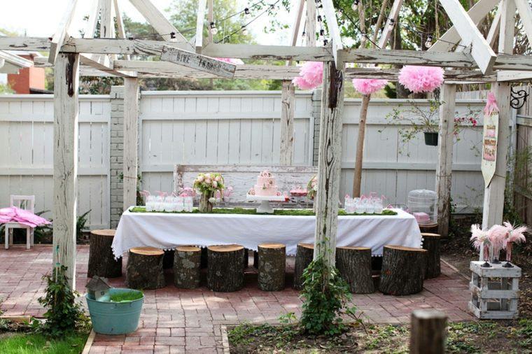 la mesa decoracion rustica rosa exteriores