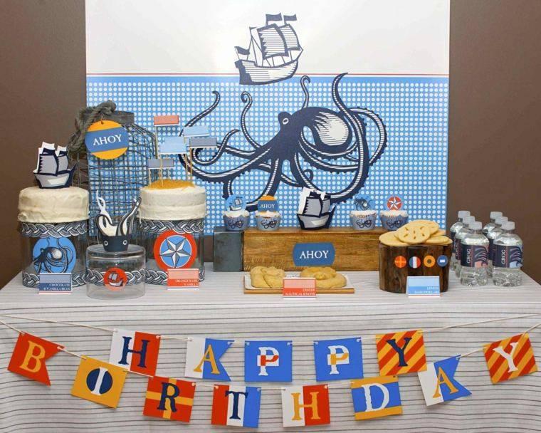 la mesa marina pulpo tema azul