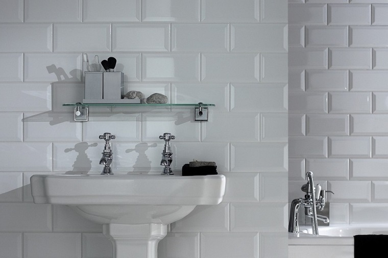 Azulejos Baño Blanco:Diseño de azulejos de baño de estilo urbano