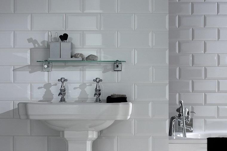 ladrillos azulejo blanco ceramica bao