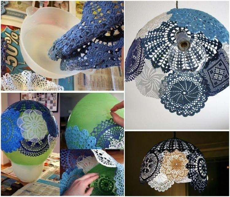 lampara casera hecha piezas crochet