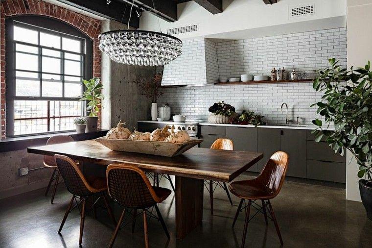 lampara lujo cristal estilo industrial cocina ideas