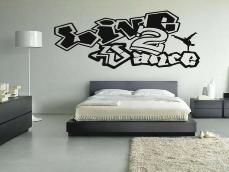 lampara pie blanca dormitorio cama grande pared dibujada ideas