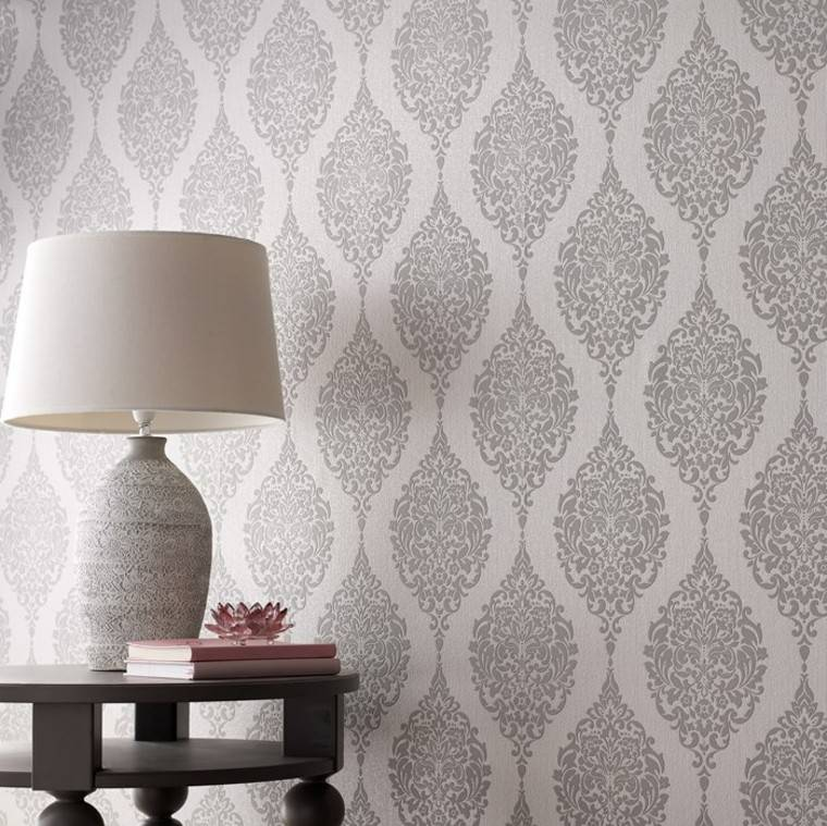 lampara salon moderno papel pared ideas