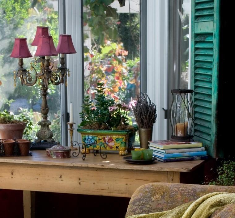 lampara rosa decoracion jardin macetas