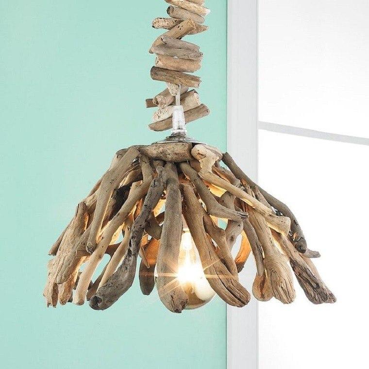 lamparas diseño colgante bombilla troncos