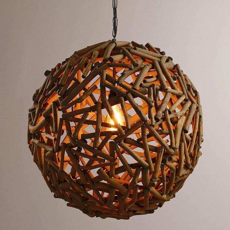 lamparas diseo madera esfera troncos