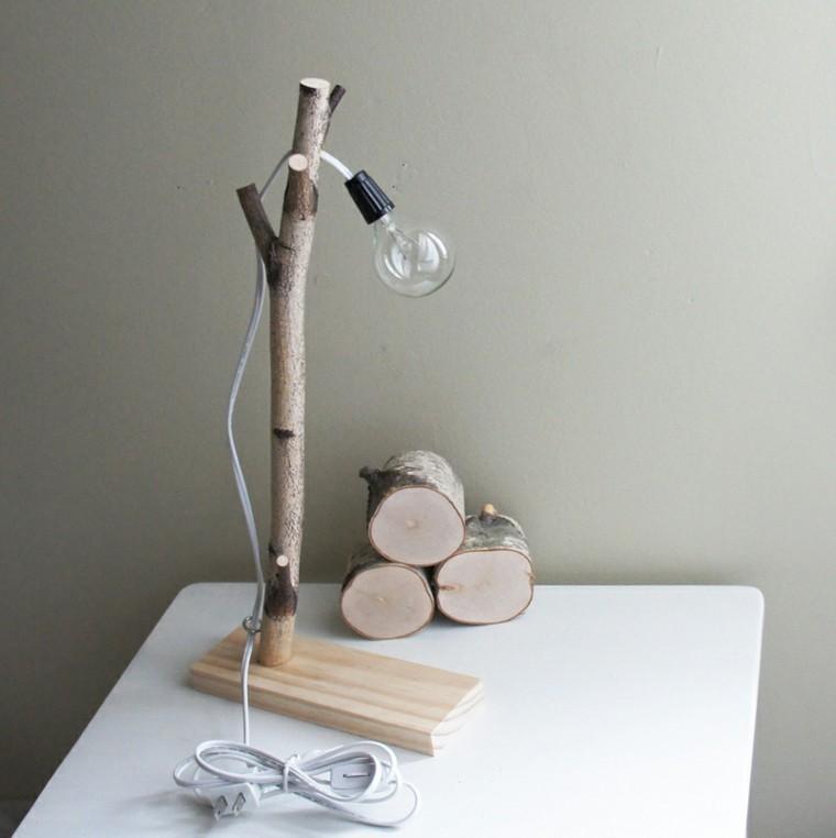 lamparas diseño troncos bombilla simple
