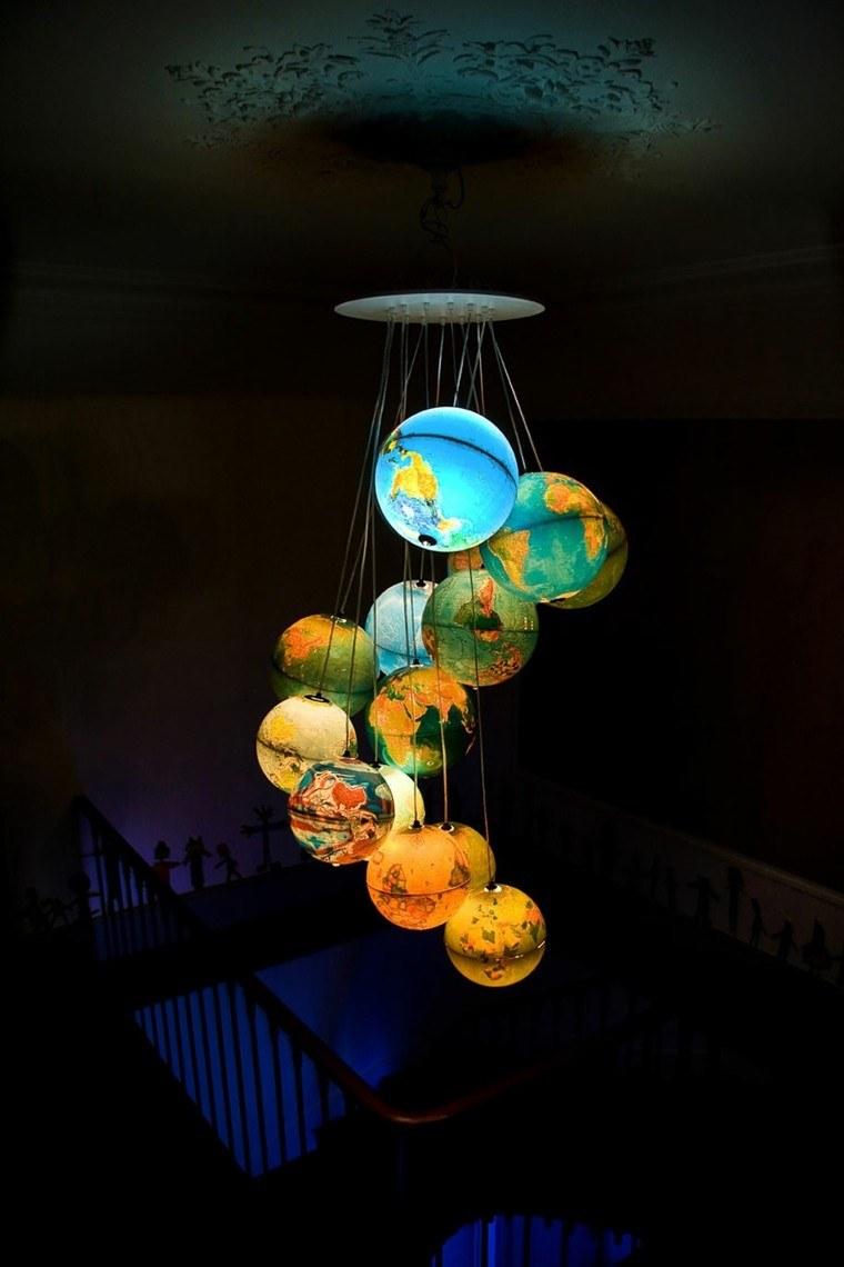 lamparas esferas mapa cuarto habitacion