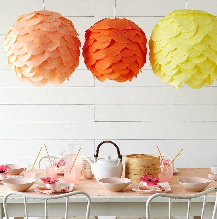 lamparas papeles esferas colores revestimiento