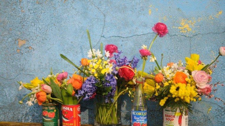 latas pescado flores creativo envases