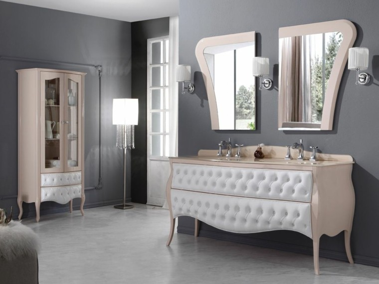 cómo decorar un baño lavabo armario preciosos lampara pie bano ideas